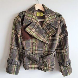 Juicy Couture plaid wool blend jacket.